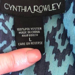 Cynthia Rowley Tops - Cynthia Rowley L Tribal Blue on Blue Peasant
